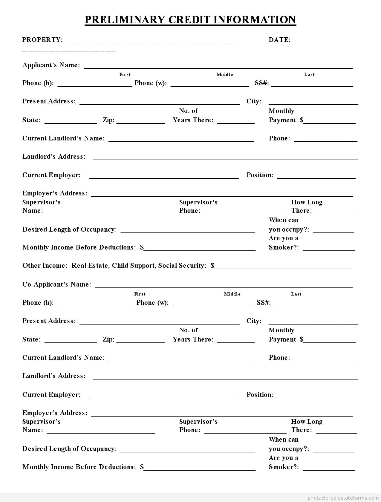 Sample Printable Preliminary Credit Application Form