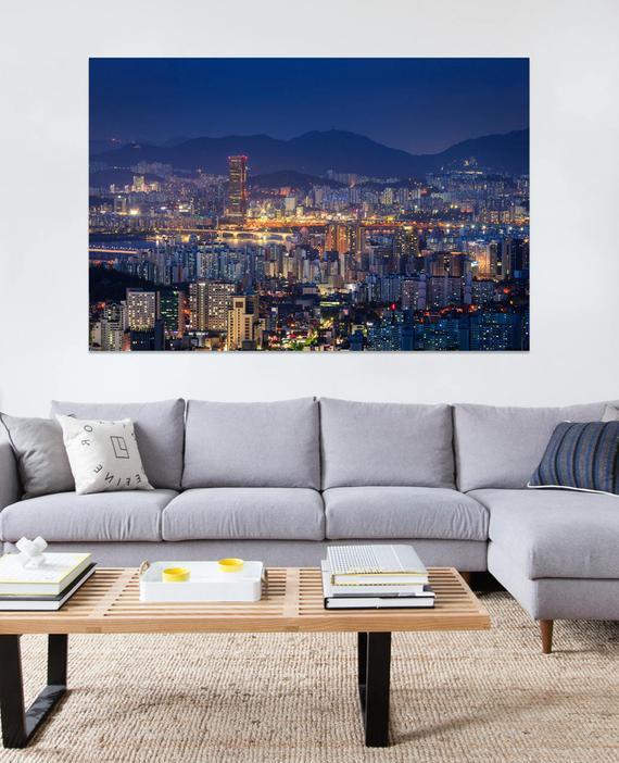 Seoul wall art decoration cityscape canvas downtown south korea photography printable also rh pinterest