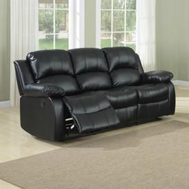 Homelegance Cranley Casual Black Faux Leather Reclining Sofa