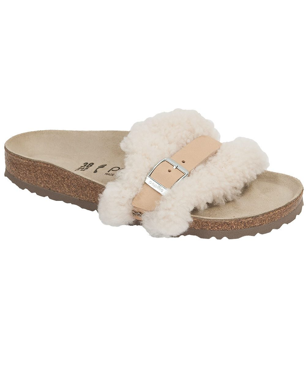 19d9a050262 Papillio by Birkenstock Carmen Slide Sandal with Off-White Leather and  Fuzzy Shearling. One of our most glamorous Birkenstocks!