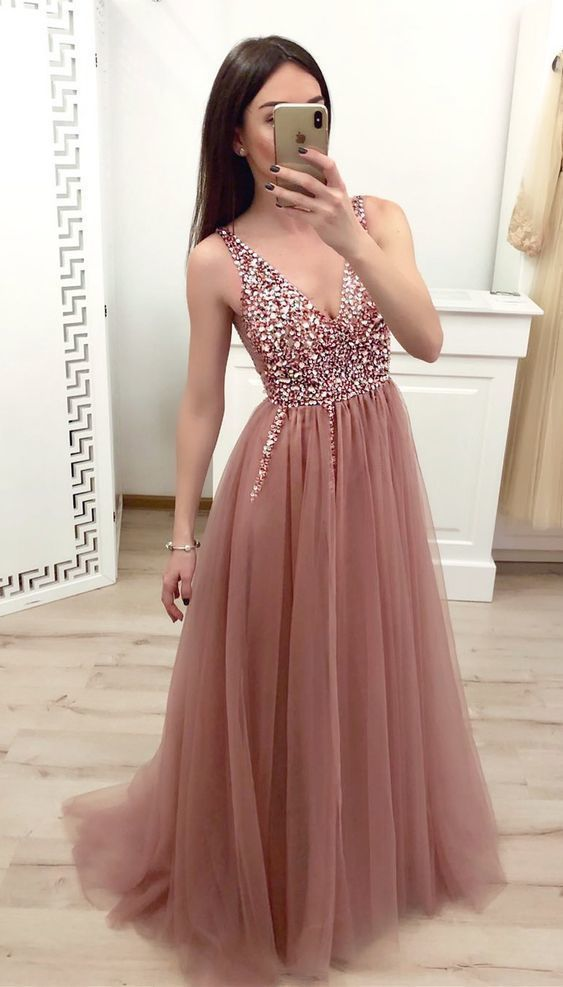 Dusty rose tulle beaded long prom dress with lace up back #promthings