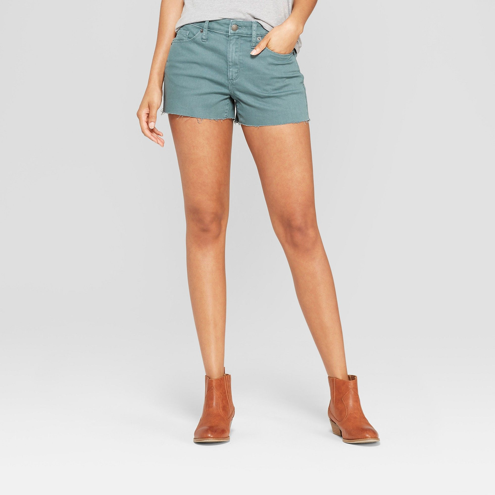 fd4f485397 Women's High-Rise Shortie Jean Shorts - Universal Thread Green 18 ...