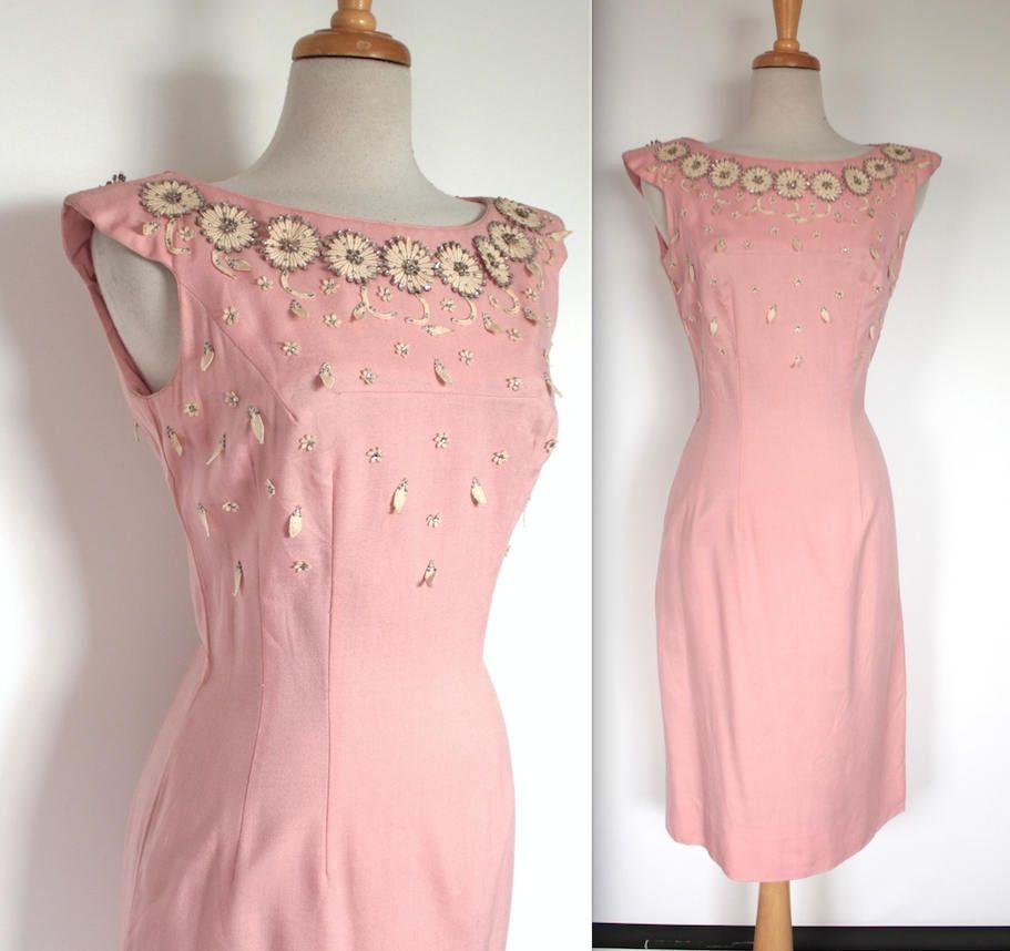 Vintage 1950s Dress // 50s Pink Linen Wiggle Dress with Floral ...