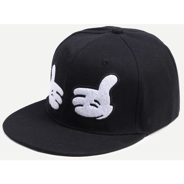 Black And White Hands Canvas Baseball Hat ($4.89) Liked On