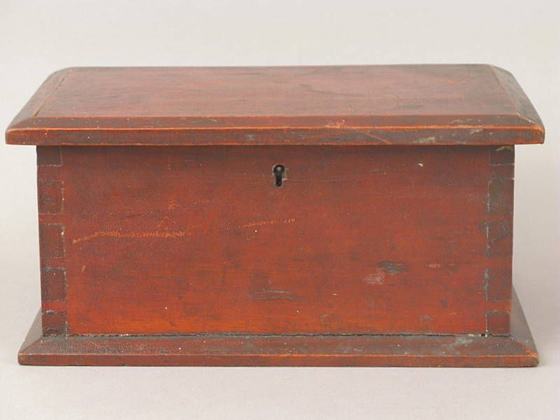 Document box with original red paint, 19th century
