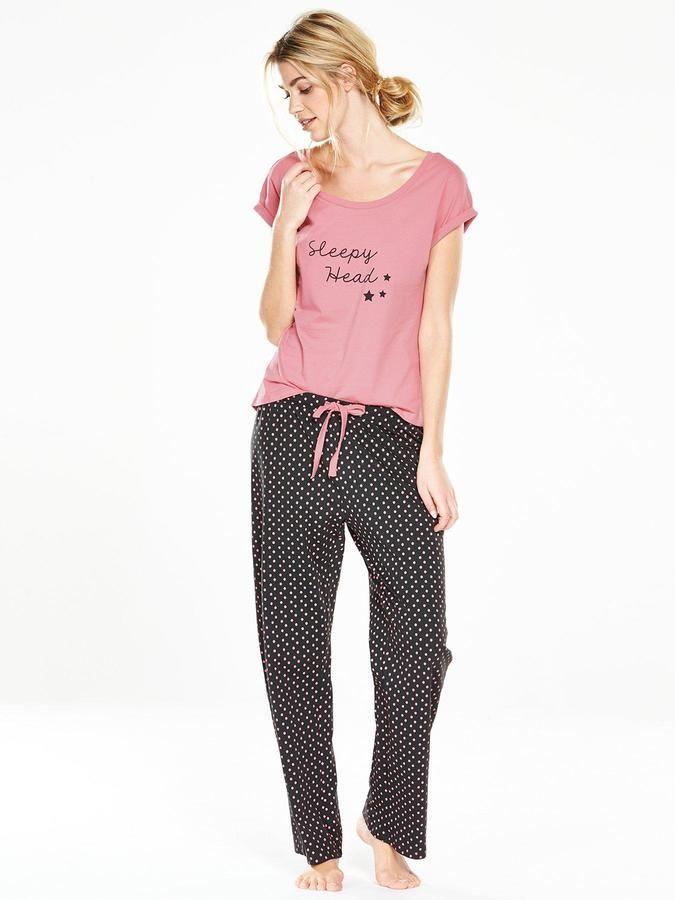 726a6d639c4d V by Very Sleepy Head Polka Dot Pyjama Set
