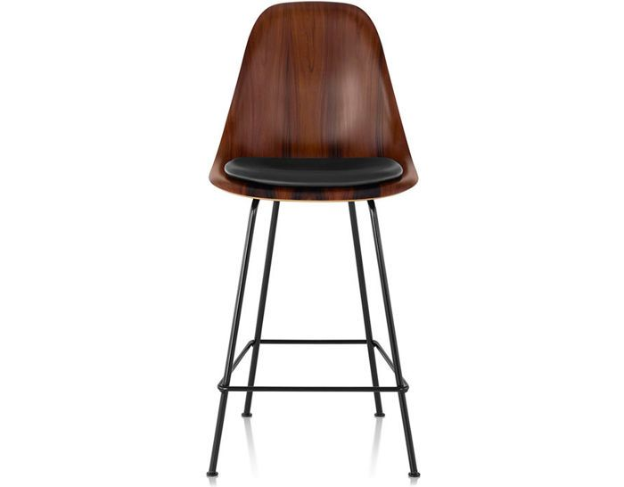 Fine Eames Molded Wood Stool With Seat Pad Bar Stool Wood Machost Co Dining Chair Design Ideas Machostcouk