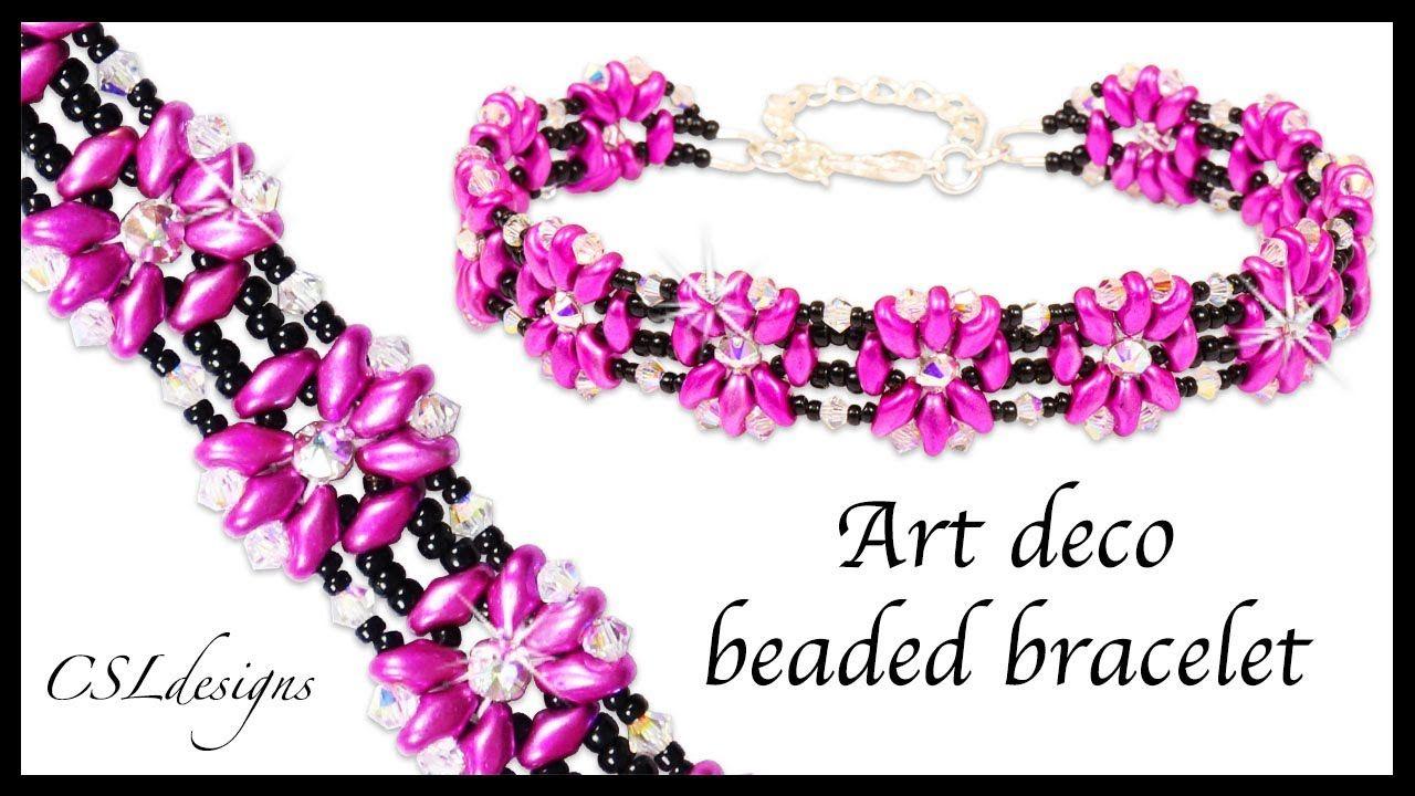 How to Art Deco beaded bracelet - easy with superduos ~ Seed Bead Tutorials