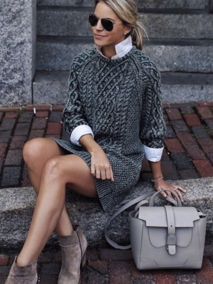 Wear a white shirt under you sweater dress and ankle boots