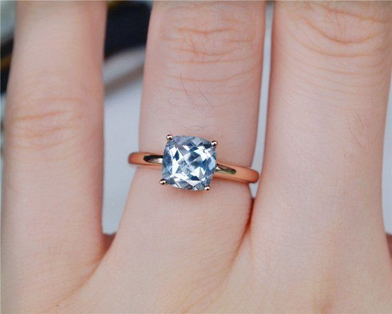 Solid 14K Aquamarine Ring Aquamarine Engagement Ring Wedding Ring Promise Ring Anniversary Ring #aquamarineengagementring