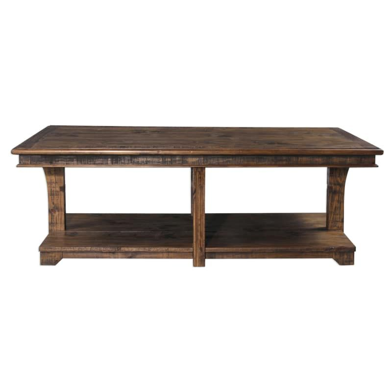 Uttermost 25938 Ramsey 60 Inch Wide Pine Wood Coffee Table With Gallery Shelf By Warm Chocolate Ind Pine Coffee Table Coffee Table Wood Solid Wood Coffee Table