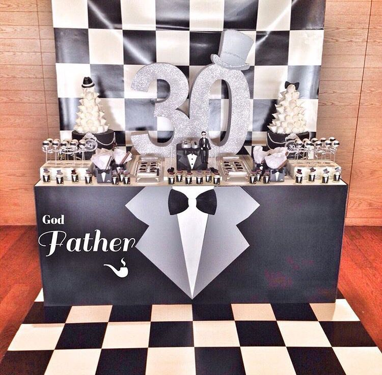 Male 30th Birthday Party Idea Black And White Party Mens