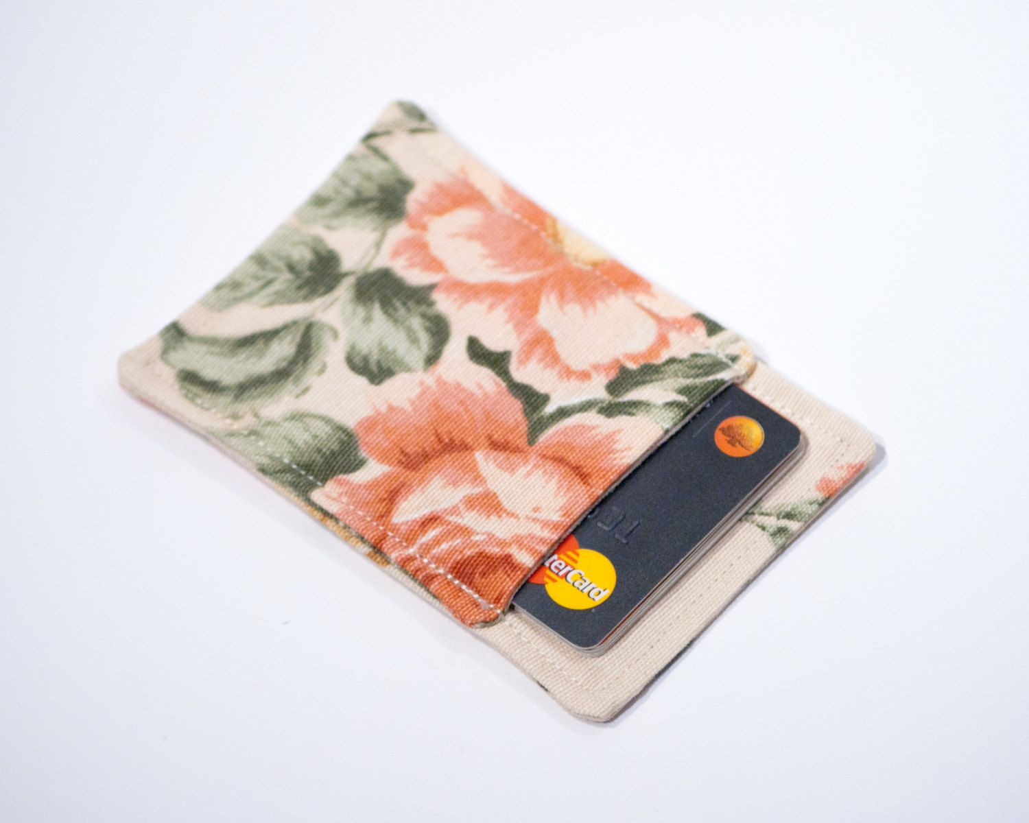 Floral fabric credit card wallet - Minimalist wallet - Slim ...