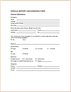 Medical History And Screening Form Download At HttpWww