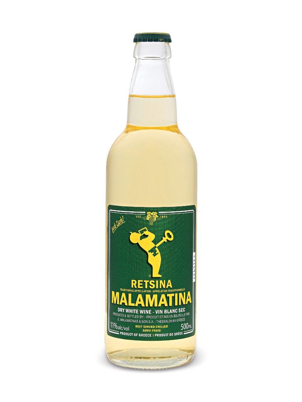Malamatina Retsina | Corona beer bottle, Dry white wine ...