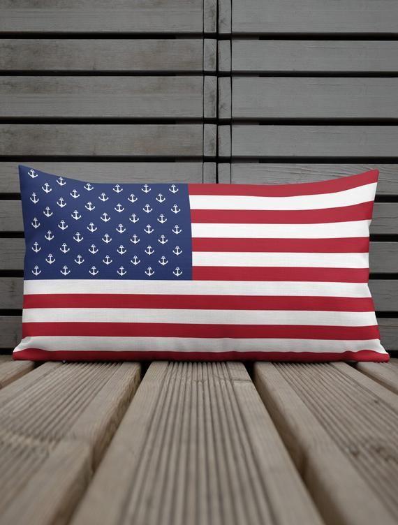 American Flag Anchor Lumbar Pillow 12 X 20 Nautical Pillow Etsy In 2020 Nautical Pillows Lake House American Flag Decor