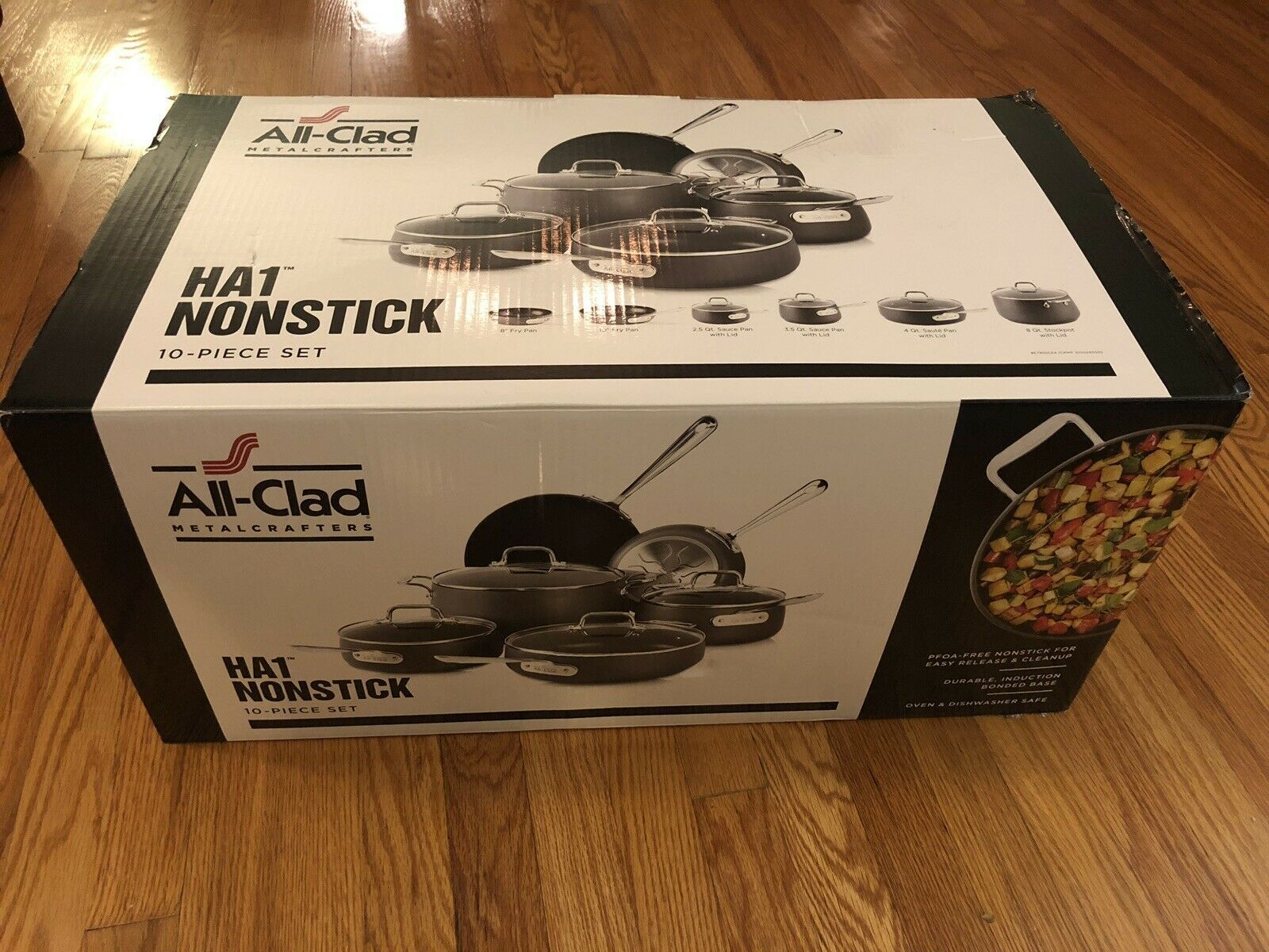 New All Clad Ha1 10 Piece Pots And Pans Set Hard Anodized Non