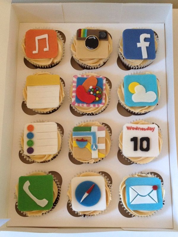 iPhone themed cupcakes. Made by www.BuBakes.co.uk For more creations, tips and competitions like us at Facebook.com/bubakes
