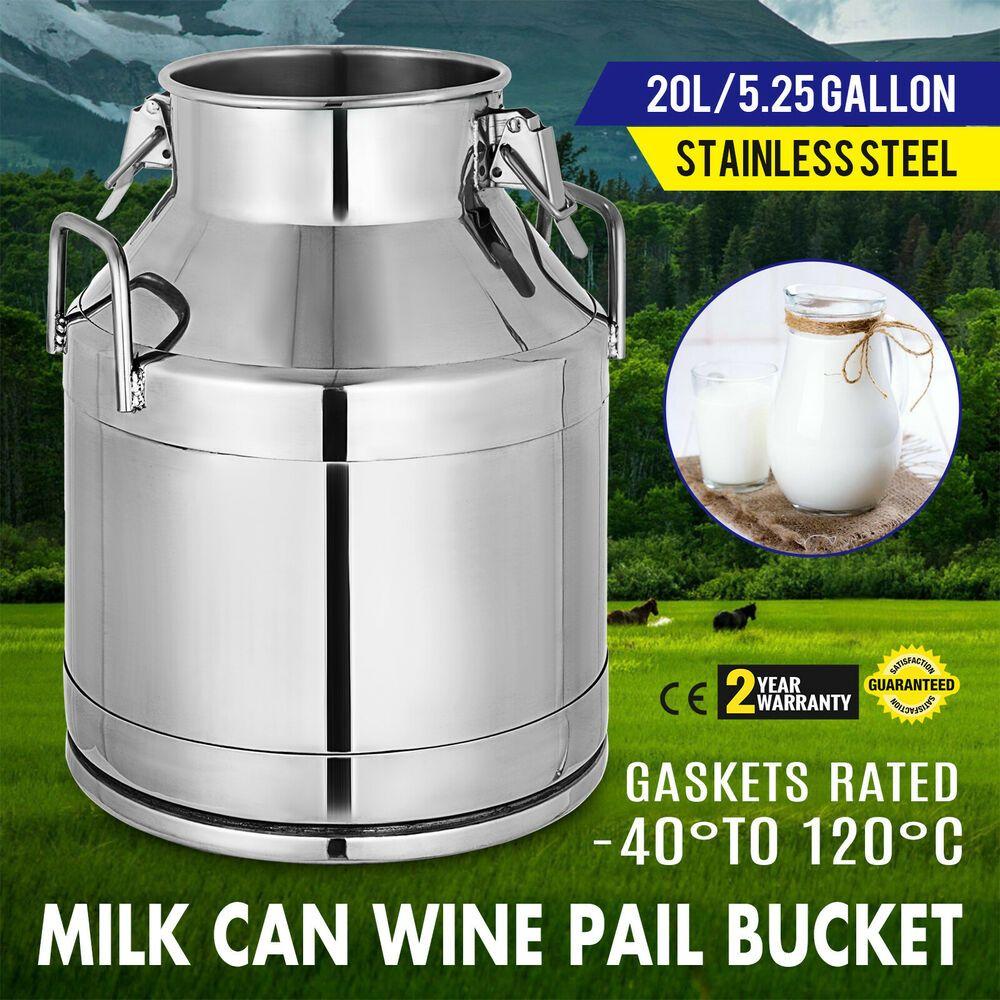 Ebay Sponsored Stainless Steel Milk Can Wine Pail Boiler Tote Jug Lid 20 L 5 25 Gallon Milk Pot Pail Bucket Milk Cans