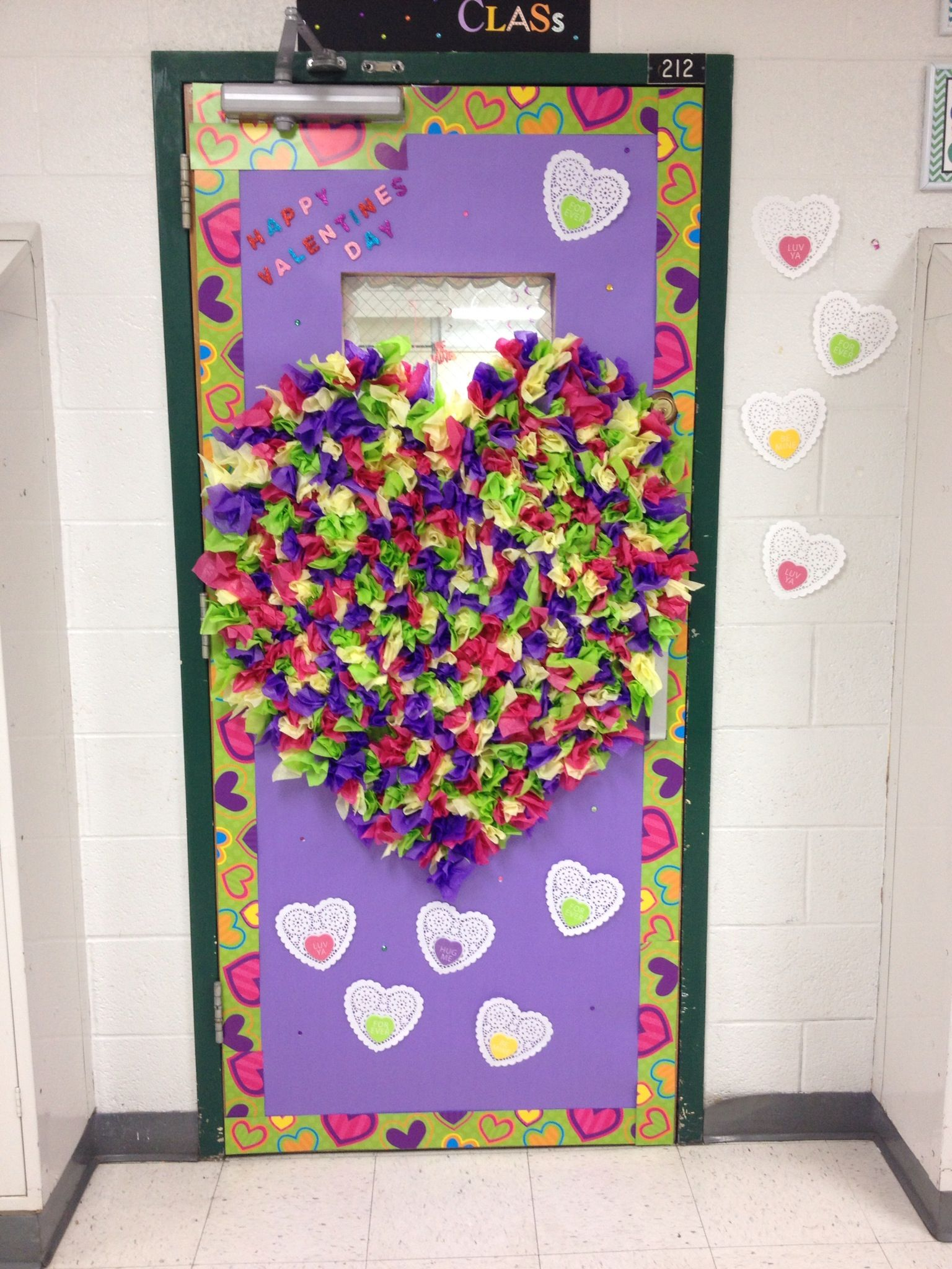 February Valentines Door decoration with tissue paper ...