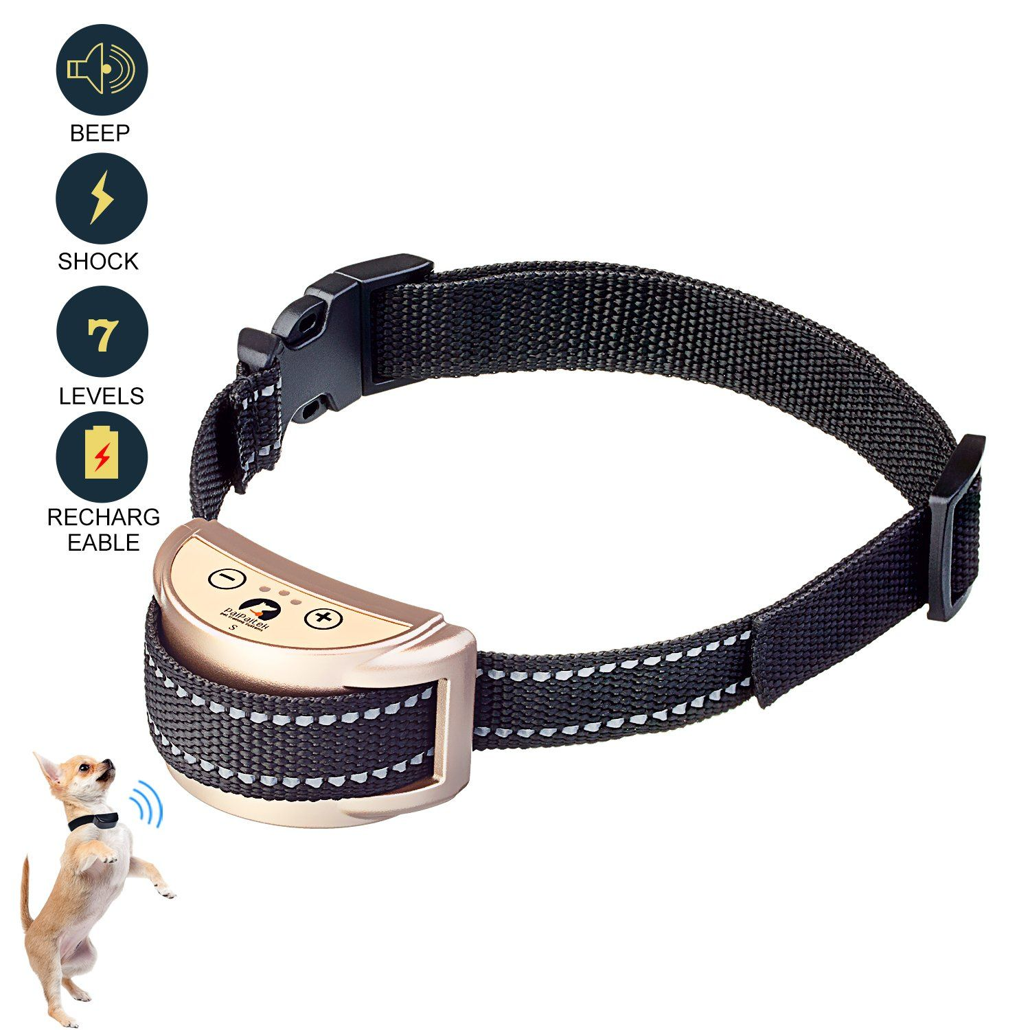 Paipaitek Reflective Collar Bark Collar Rechargeable Antibarking