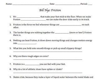 Bill Nye Friction Video Worksheet   Bill nye, Science guy ...