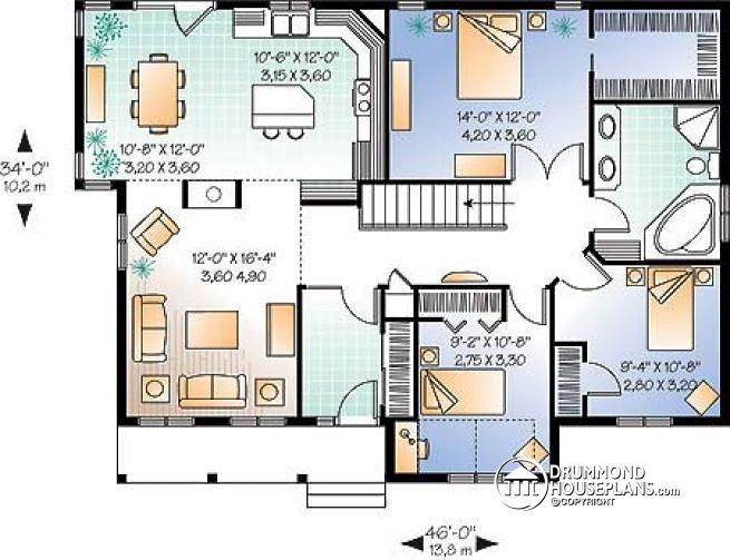 Drummond House Plans   W2185   3 Bedroom Low Budget Bungalow House Plan,  Walk In In Master, 2 Sided Fireplace, 10u0027 Celing In Family Room