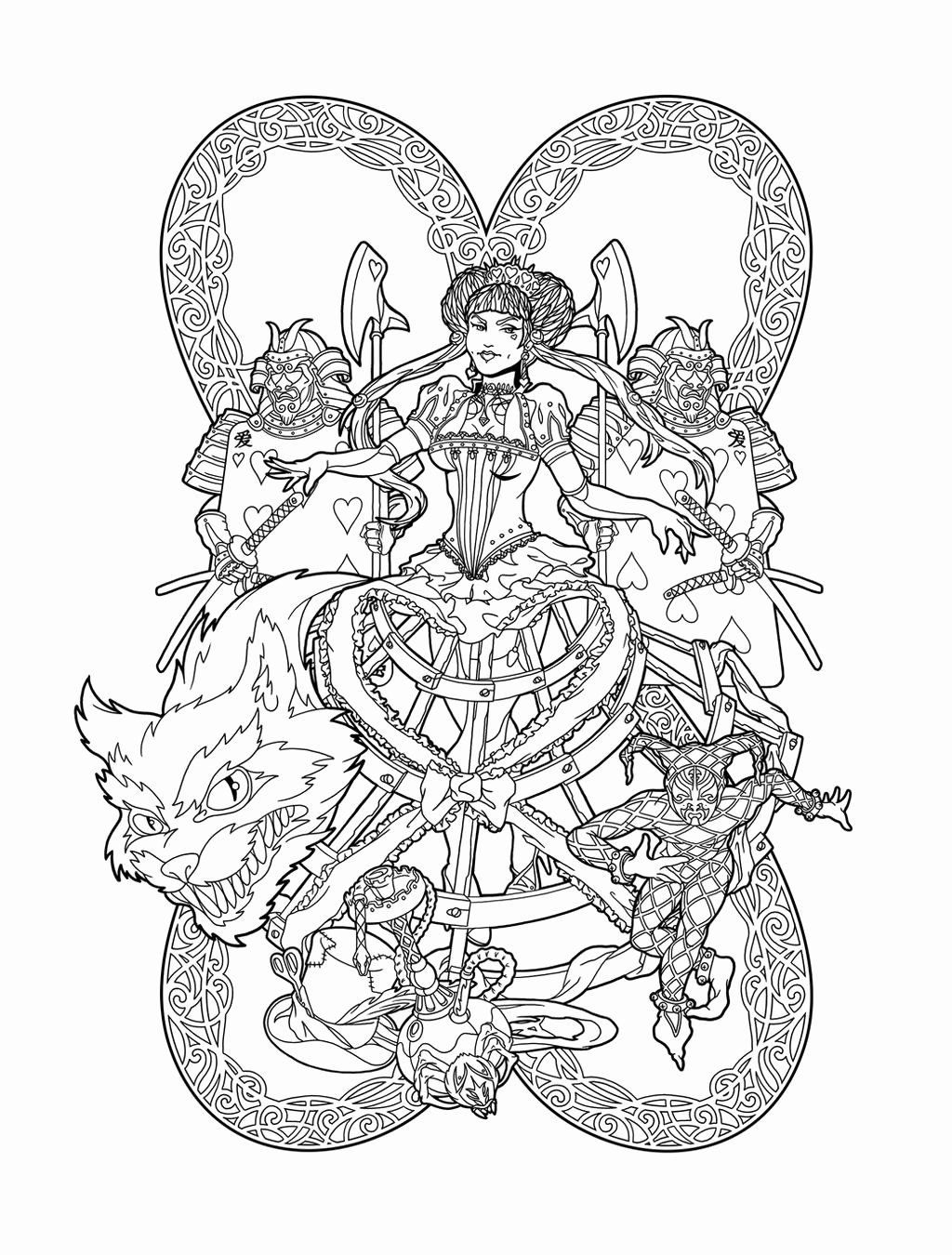 Red Queen Coloring Book Lovely Red Queen Of Wonderland Lines By Deviantashtareth On Red Queen Coloring Books Coloring Pages