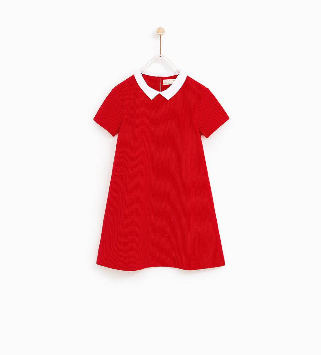 DRESS WITH CONTRASTING COLLAR-DRESSES AND JUMPSUITS-GIRL ...