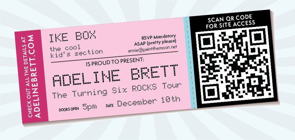 Rock Star Kidu0027s Birthday Party Photos Punk - Tickets with QR Code - concert ticket birthday invitations