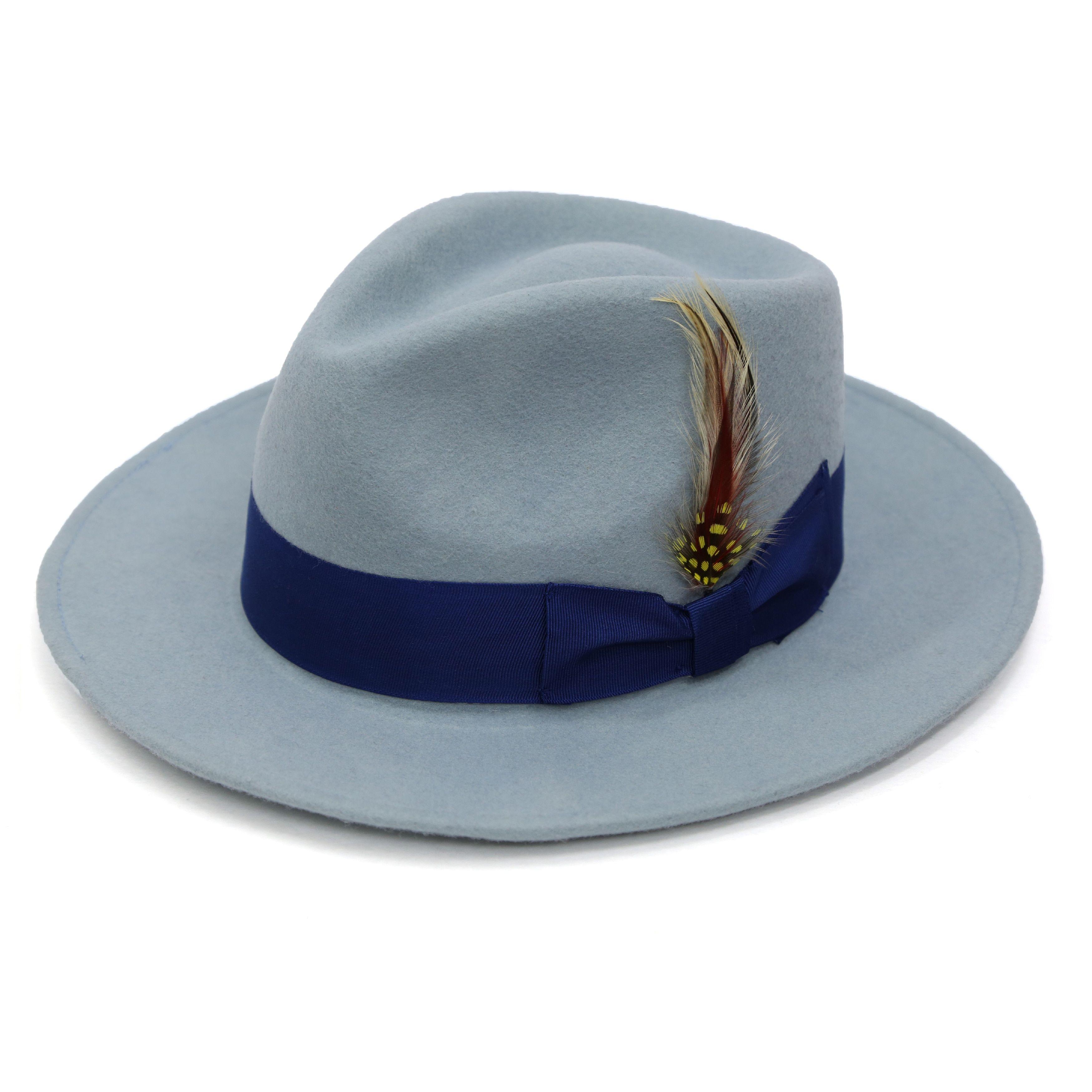 467ec8b9836e0 Ferrecci Men s Sky Blue Lined Wool Royal Blue Band Fedora Hat