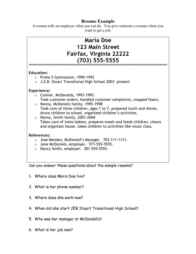 Nanny Resume Help Extended School Day For Homework Objective