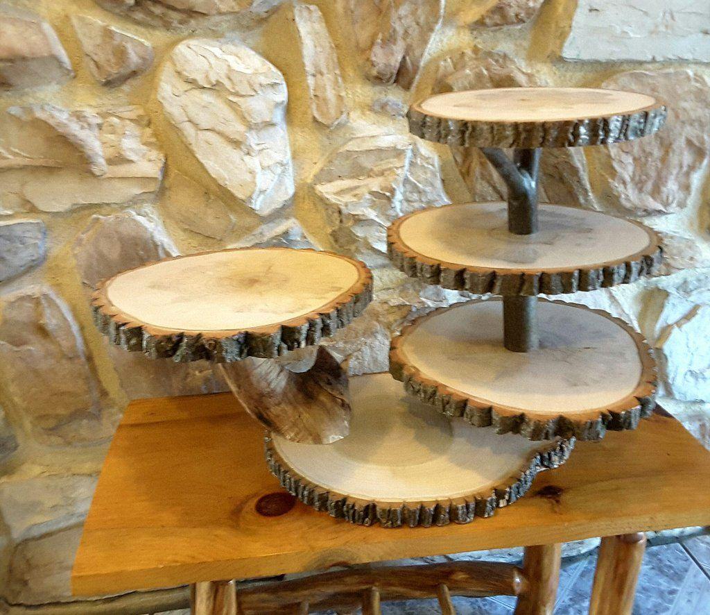Large tree slice cupcake stand, rustic wedding dessert