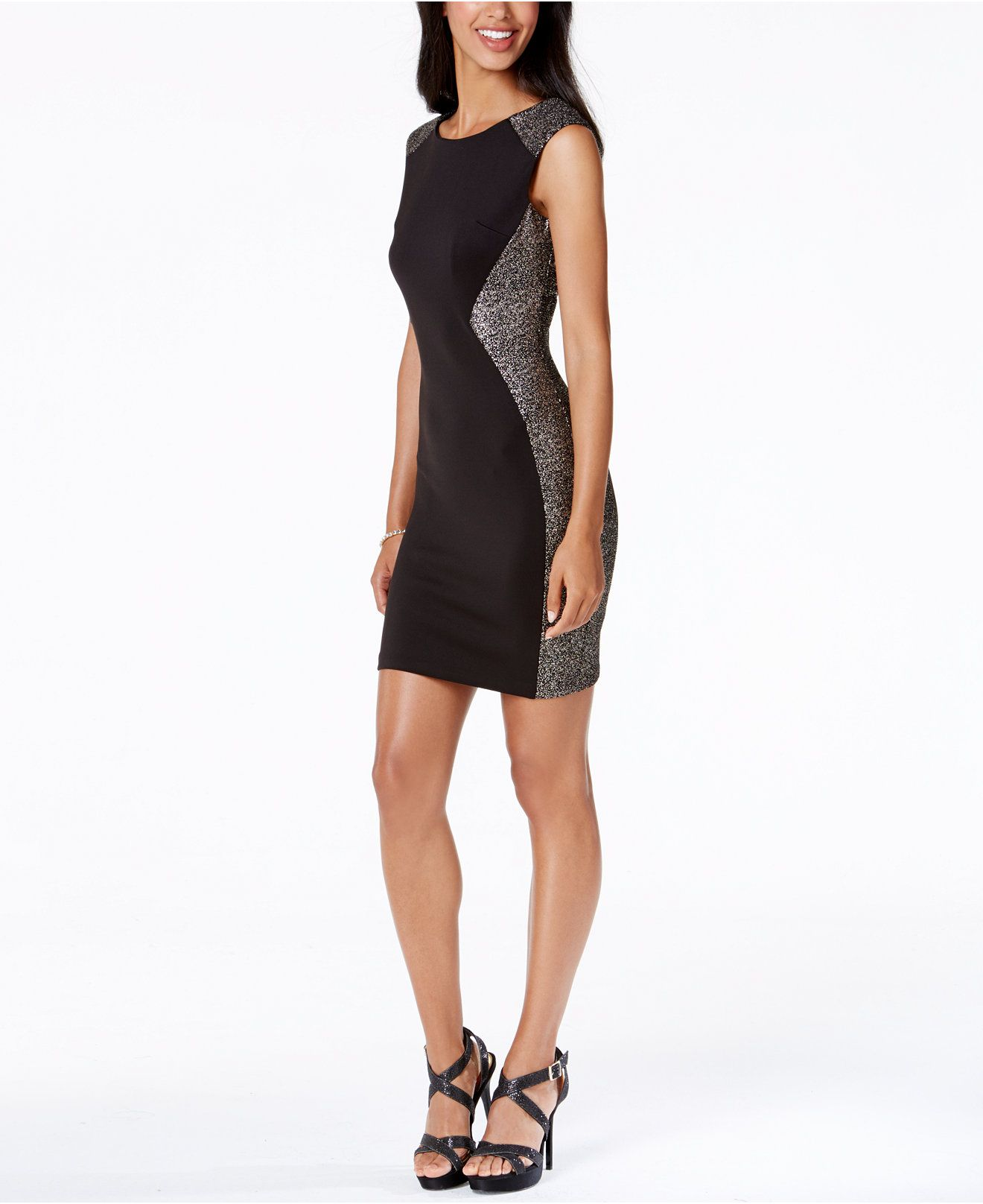 BCX Juniors\' Shimmer-Trim Sheath Party Dress - Juniors Dresses ...