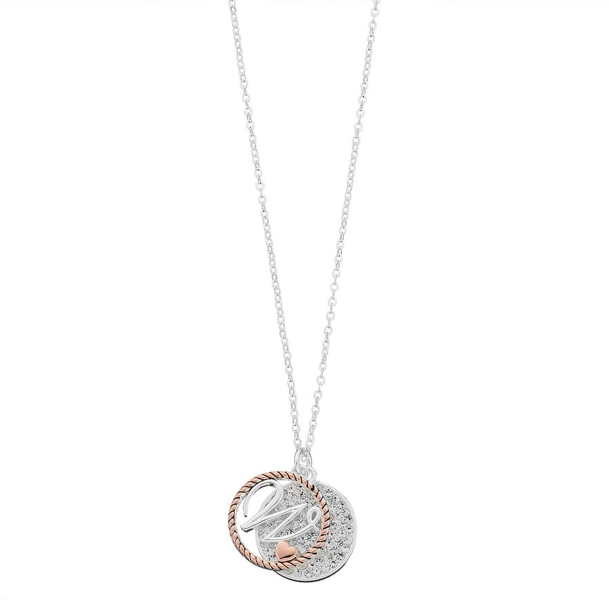 Two tone silver plated crystal disc initial pendant necklace two tone silver plated crystal disc initial pendant necklace aloadofball Image collections