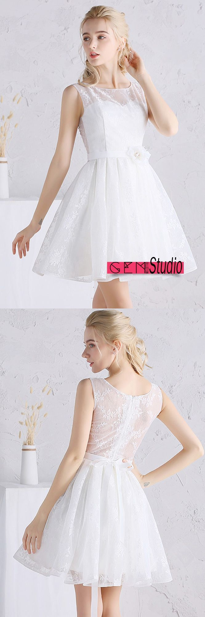 A line tulle short wedding dresses beach scoop neck short lace style