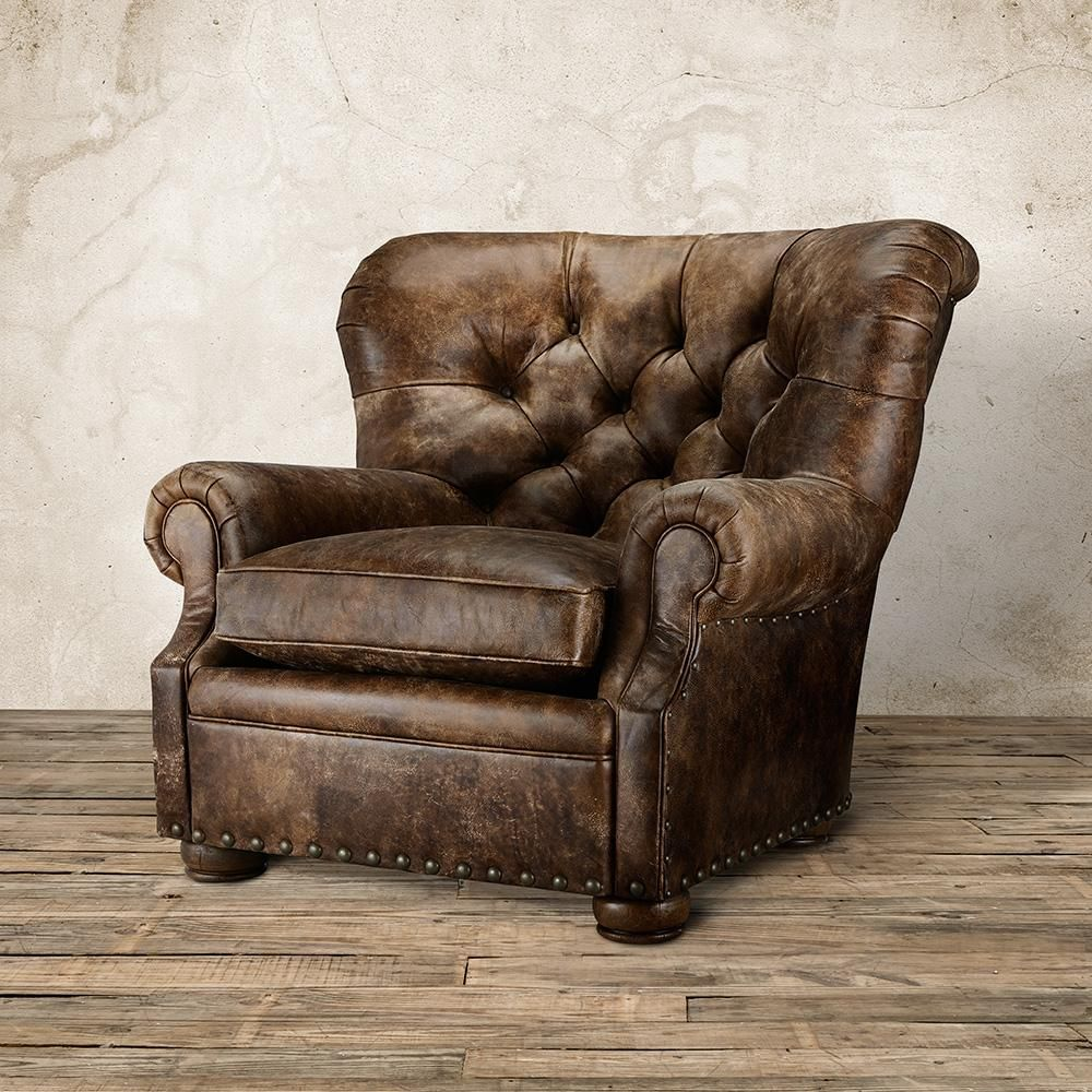 Beacon Tufted Leather Chair In Bronco Whiskey Tufted Leather