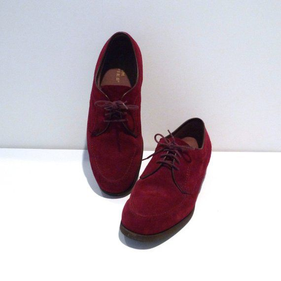 dcf5a6ea0a84e Hush Puppies Shoes Mens Size 8.5 1990s Vintage Burgundy Dark Red Suede  Leather Oxfords Rockabilly La