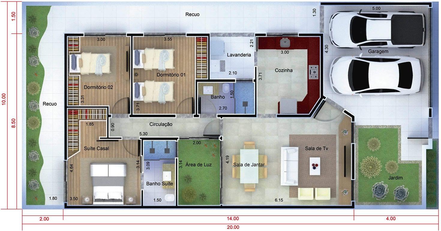 Planta de casa t rrea moderna planta para terreno 10x20 for Casas modernas 8x20