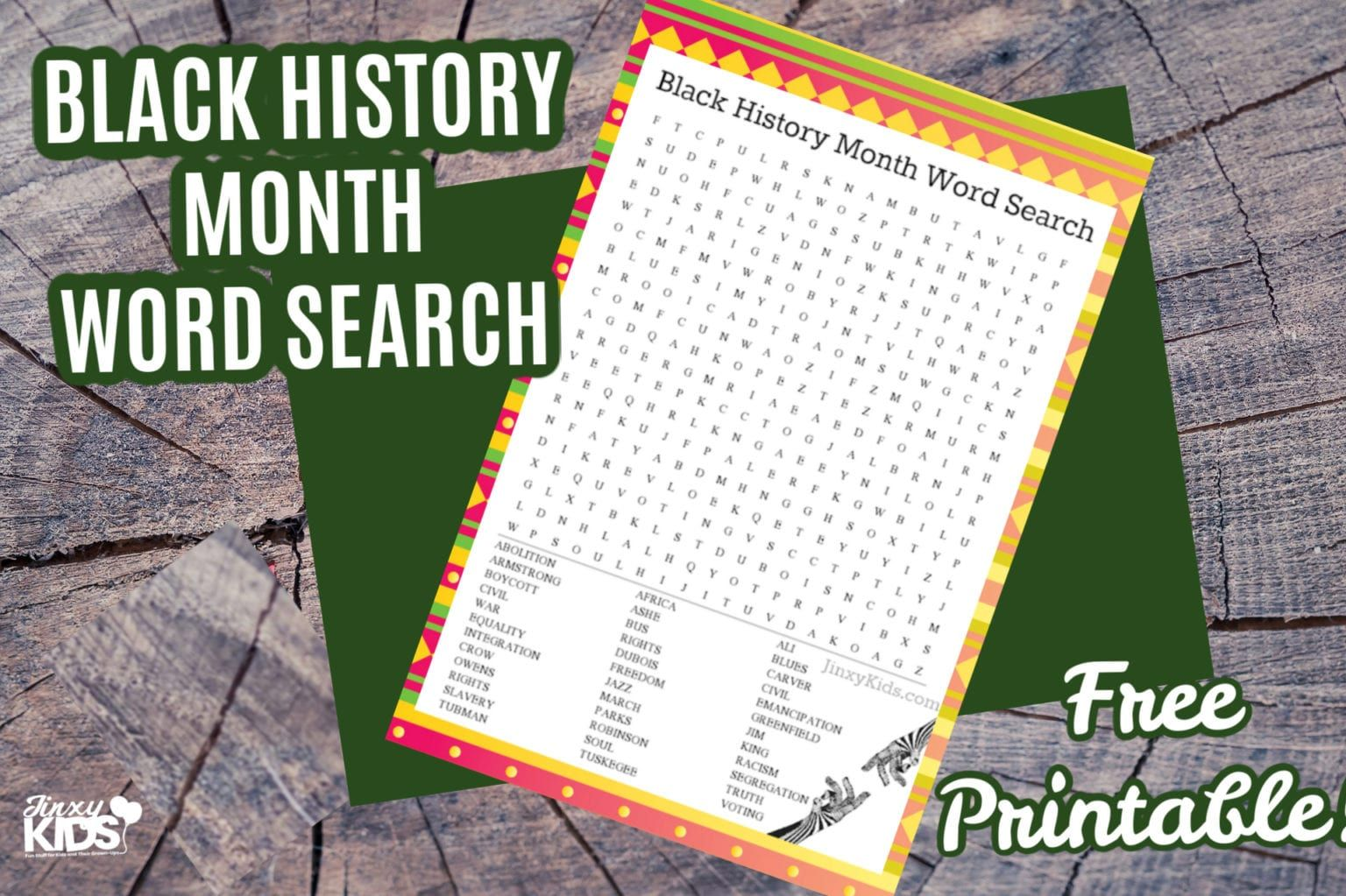 Free Printable Black History Month Word Search Puzzle In