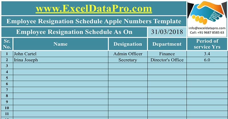 Download Employee Resignation Schedule Apple Numbers Template Hr
