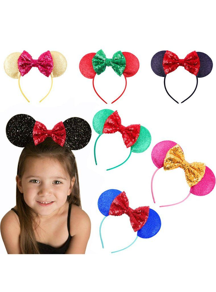 Kids Sequins Mickey Mouse Ear Styling Hair Band Nylon Hair Ornaments