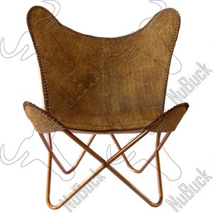 Light Brown Crackle - Leather Butterfly Chair