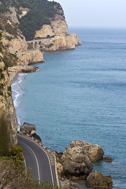 Road Aurelia Ss01 Malpasso Noli Liguria Italy Riviera