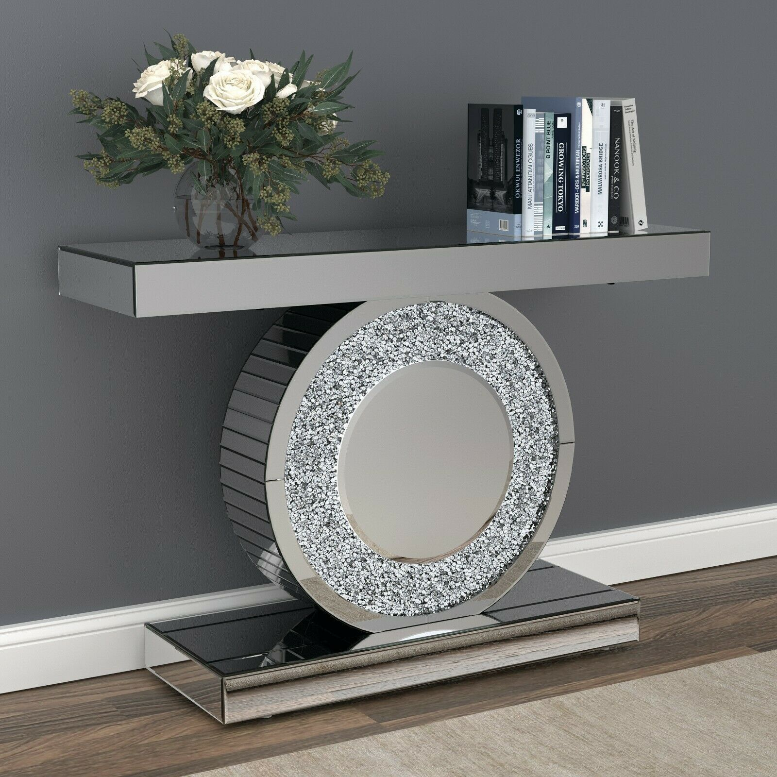 Glam Silver Crystal Mirrored Mirror Console Sofa Table Furniture