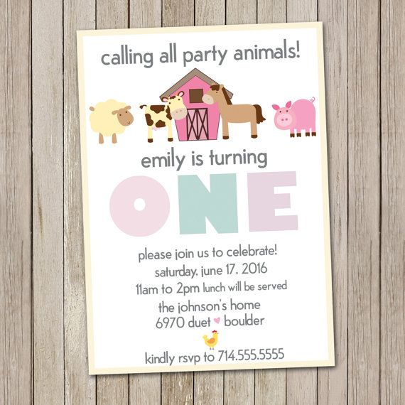 Girl Barnyard Birthday Invitation Petting Zoo By