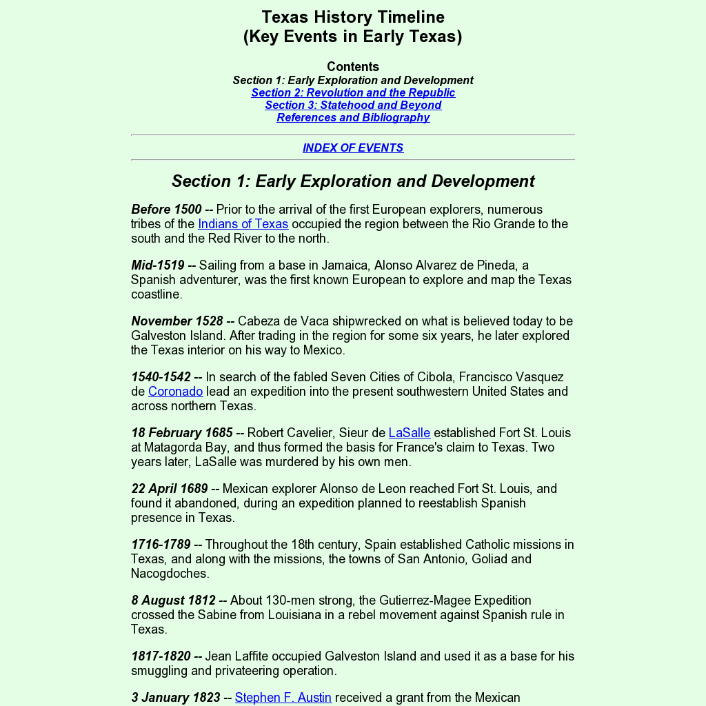 Texas History Timeline Junction Events