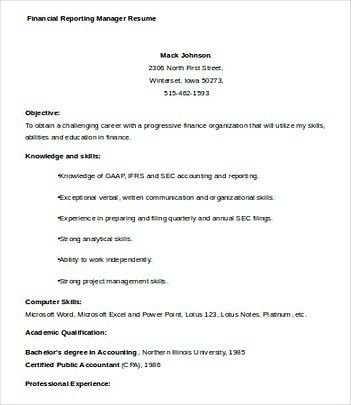 Financial Reporting Manager resume template , Finance Manager - financial resume examples