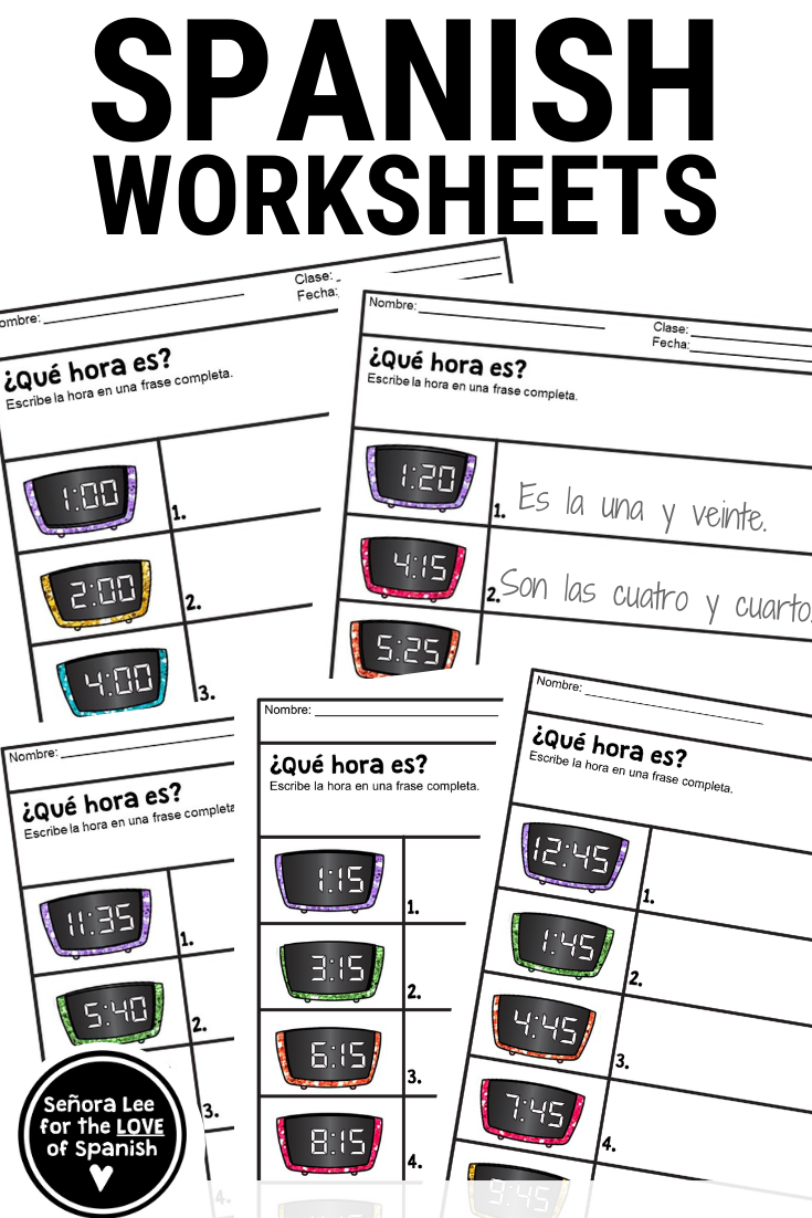 Spanish Worksheets Telling Time In Spanish Telling Time In Spanish Time In Spanish Spanish Worksheets [ 1102 x 735 Pixel ]