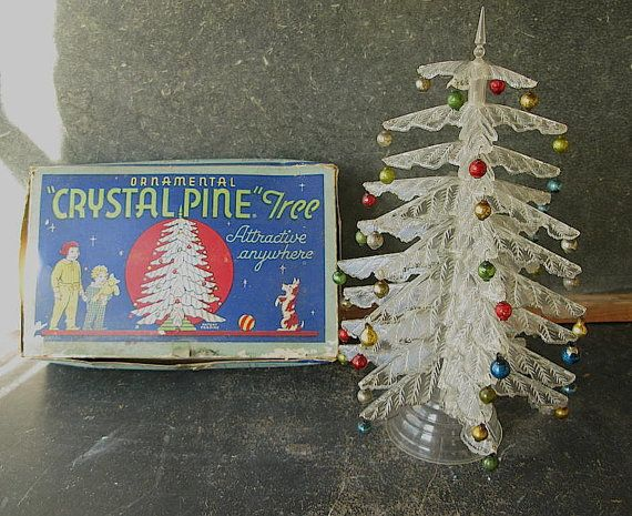 Vintage Clear Plastic Tabletop Christmas Tree Peerless By PassedBy